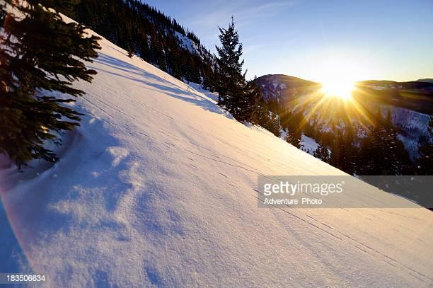 Scenic Winter Mountain Sunset