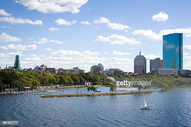 Scenice Charles River with Boston Back Bay and City Skyline