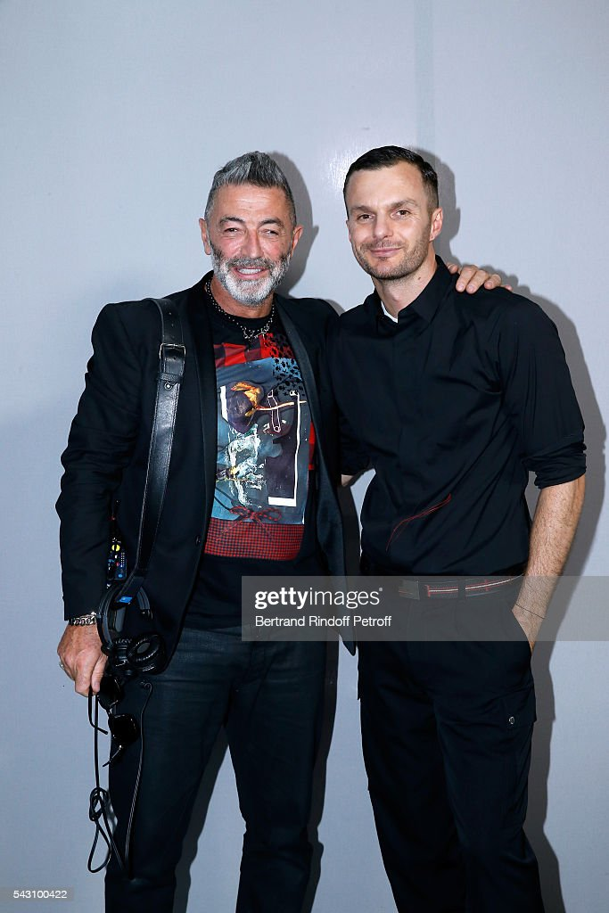 Scenographer Etienne Russo and Fashion designer Kris Van Assche pose Backstage after the Dior Homme Menswear Spring/Summer 2017 show as part of Paris Fashion Week on June 25, 2016 in Paris, France.
