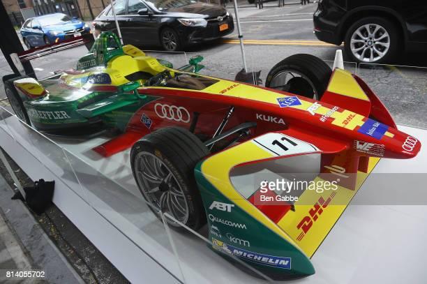 Schaeffler FE02 Audi Sport Formula E Race Car on display outside of the Audi x Fast Company Fomula E Innovation Dinner at 1 Hotel Brooklyn Bridge on...