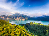 Aerial view of the beautiful Lake Mondsee and the Schafberg mountain in the Salzkammergut during summer time. Austria, Europe.