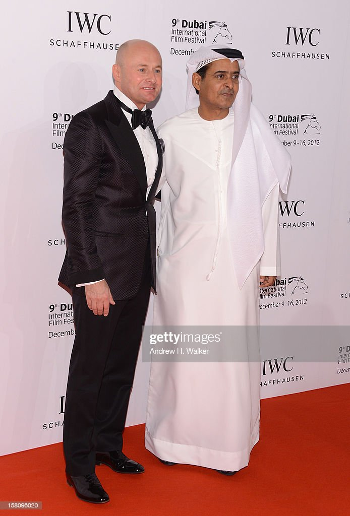 Schaffhausen CEO George Kern and DIFF Chairman Abdulhamid Juma attend the Dubai International Film Festival and IWC Schaffhausen Filmmaker Award Gala Dinner and Ceremony at the One and Only Mirage Hotel on December 10, 2012 in Dubai, United Arab Emirates.