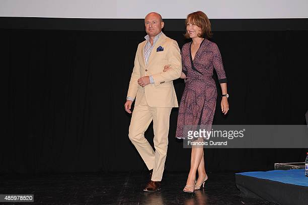 Schaffhausen CEO Georges Kern and Nathalie Baye on stage during the 8th Angouleme FrenchSpeaking Film Festival Closing Ceremony on August 30 2015 in...