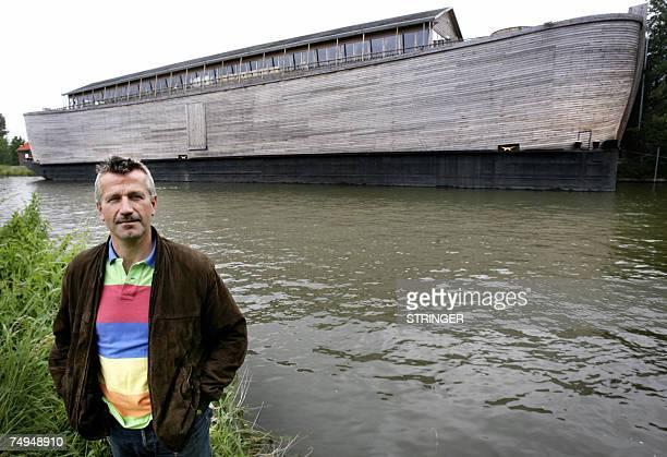 TO GO WITH AFP STORY BY STEPHANIE VAN DEN BERG Dutch contractor Johan Huibers poses in front of a replica of Noah's Ark 18 June 2007 in Schagen in...