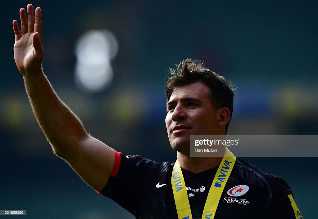 <a gi-track='captionPersonalityLinkClicked' href=/galleries/search?phrase=Schalk+Brits&family=editorial&specificpeople=686630 ng-click='$event.stopPropagation()'>Schalk Brits</a> of Saracens acknowledges the fans after victory in the Aviva Premiership final match between Saracens and Exeter Chiefs at Twickenham Stadium on May 28, 2016 in London, England.
