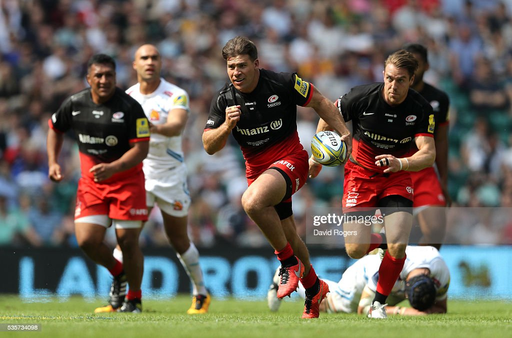 Schalk Brits of Saracens breaks with the ball during the Aviva Premiership final match between Saracens and Exeter Chiefs at Twickenham Stadium on...