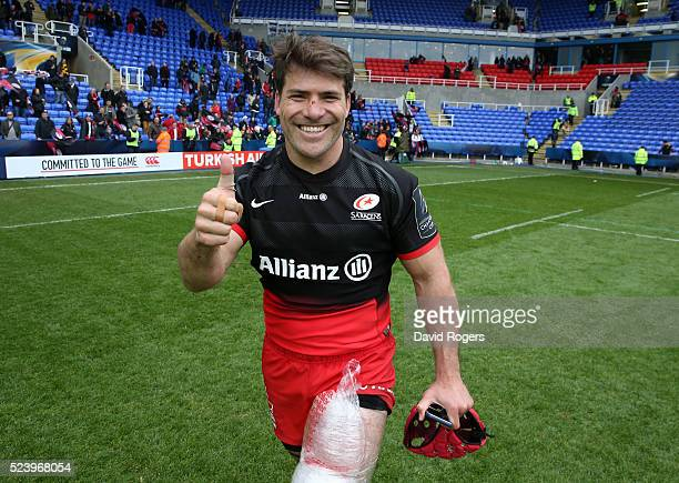 Schalk Brits of Saracens celebrates after their victory during the European Rugby Champions Cup semi final match between Saracens and Wasps at...