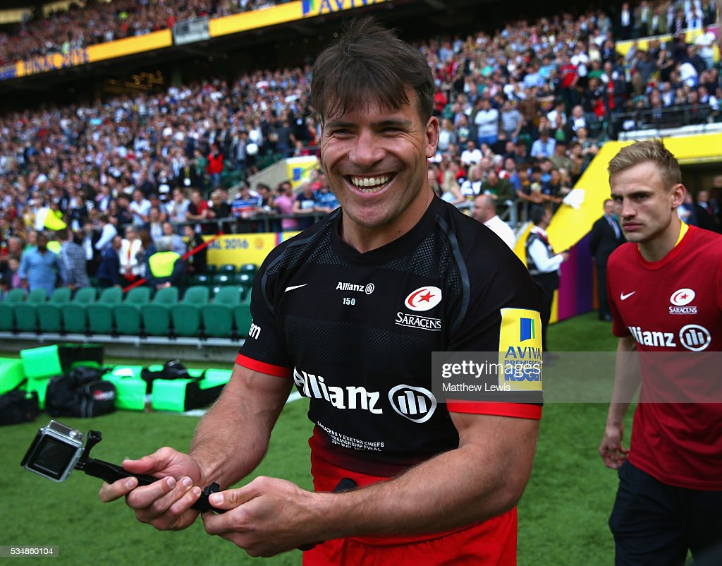 <a gi-track='captionPersonalityLinkClicked' href=/galleries/search?phrase=Schalk+Brits&family=editorial&specificpeople=686630 ng-click='$event.stopPropagation()'>Schalk Brits</a> of Saracens celebrates winning the Aviva Premiership final match between Saracens and Exeter Chiefs at Twickenham Stadium on May 28, 2016 in London, England.