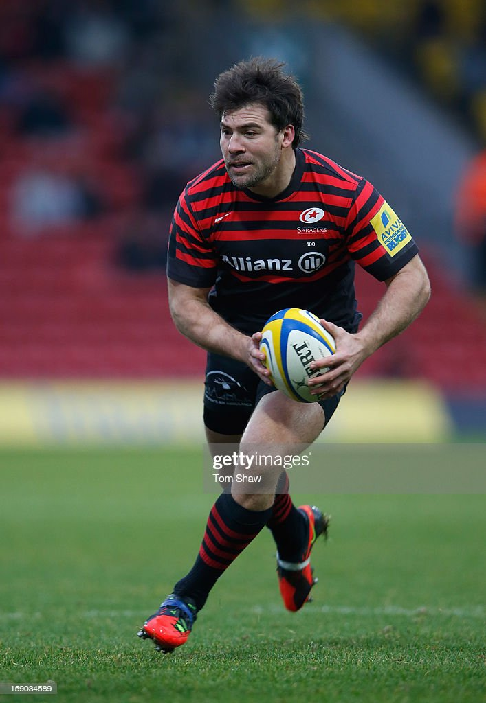 <a gi-track='captionPersonalityLinkClicked' href=/galleries/search?phrase=Schalk+Brits&family=editorial&specificpeople=686630 ng-click='$event.stopPropagation()'>Schalk Brits</a> of Saracens in action during the Aviva Premiership match between Saracens and Sale Sharks at Vicarage Road on January 6, 2013 in Watford, England.
