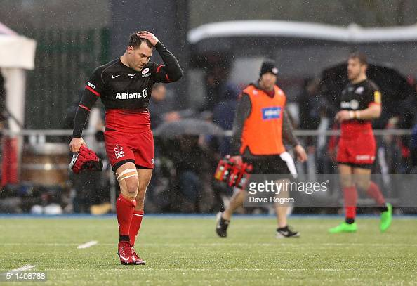 Schalk Brits of Saracens is sent off after punching Nick Wood during the Aviva Premiership match between Saracens and Gloucester at Allianz Park on...