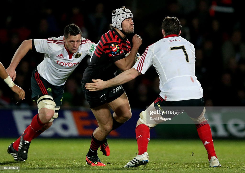 <a gi-track='captionPersonalityLinkClicked' href=/galleries/search?phrase=Schalk+Brits&family=editorial&specificpeople=686630 ng-click='$event.stopPropagation()'>Schalk Brits</a> of Saracens is tackled by Peter O'Mahoney of Munster during the Heineken Cup pool one match between Saracens and Munster at Vicarage Road on December 16, 2012 in Watford, United Kingdom.