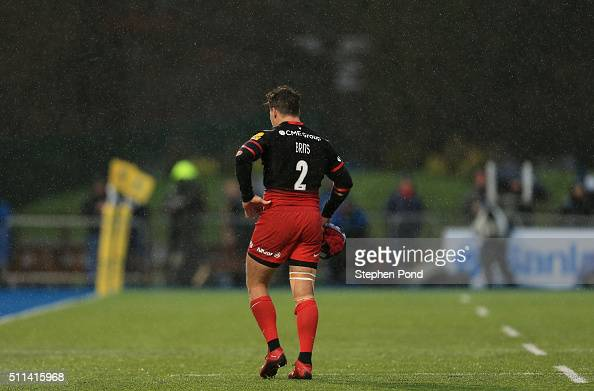 Schalk Brits of Saracens leaves the field after receiving a red card during the Aviva Premiership match between Saracens and Gloucester Rugby at...