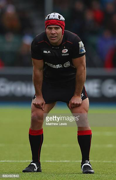 Schalk Brits of Saracens looks on during the Aviva Premiership match between Saracens and Newcastle Falcons at Allianz Park on December 24 2016 in...