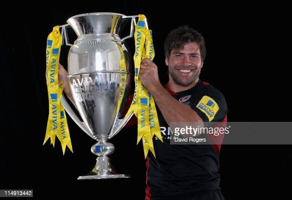 Schalk Brits of Saracens poses with the trophy after victory in the AVIVA Premiership Final between Leicester Tigers and Saracens at Twickenham...