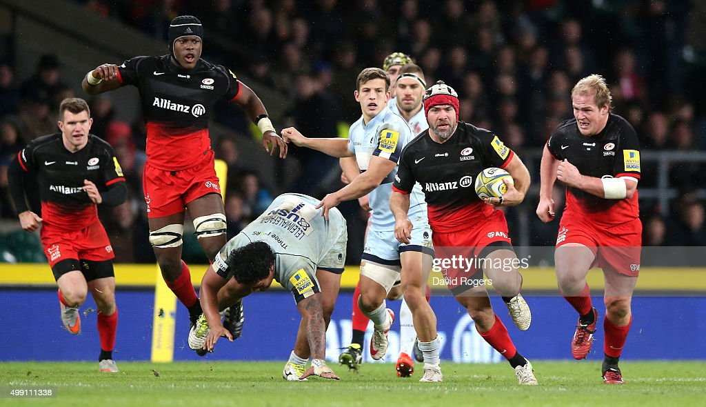 Schalk Brits of Saracens runs with the ball during the Aviva Premiership match between Saracens and Worcester Warriors at Twickenham Stadium on...