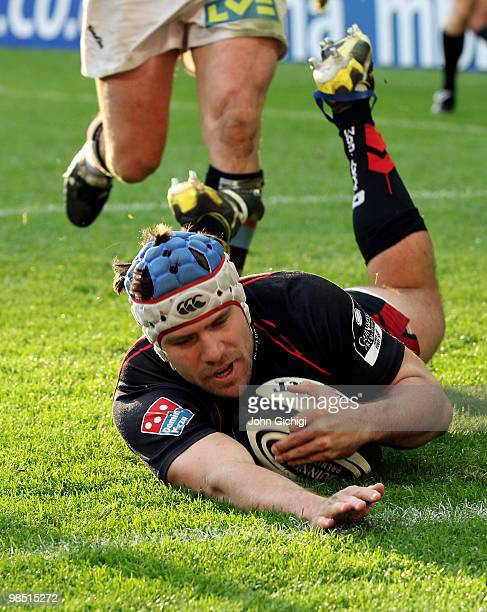 Schalk Brits of Saracens scores a try during the Guinness Premiership game between Saracens and Harlequins at Wembley Stadium on April 17 2010 in...