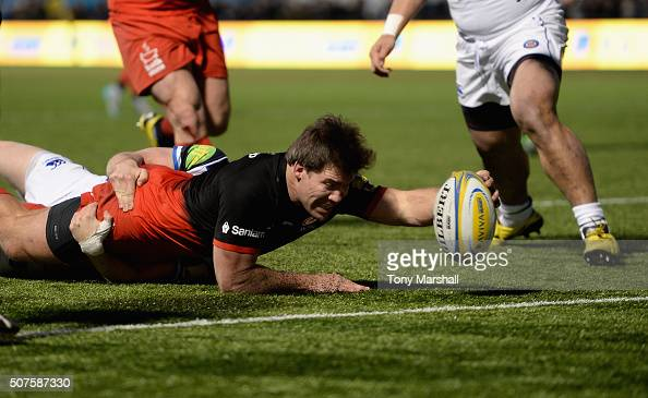 Schalk Brits of Saracens stretches to reach the try line to score a try during the Aviva Premiership match between Saracens and Bath Rugby at Allianz...
