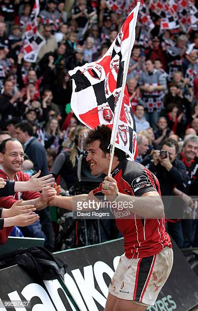 Schalk Brits of Saracens who scored the match winning try celebrates with fans after the Guinness Premiership semi final match between Northampton...