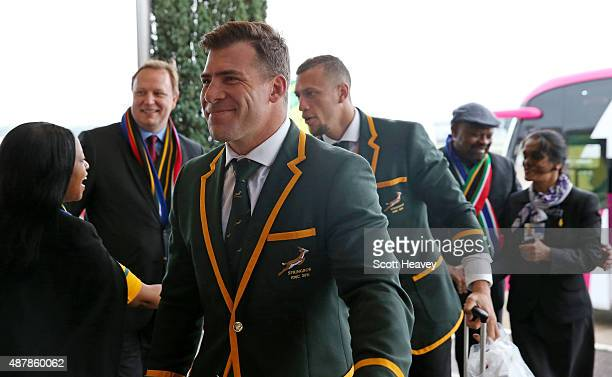 Schalk Brits of South Africa arrives at Heathrow Airport on September 12 2015 in London England