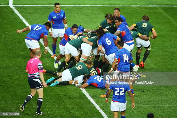 Schalk Brits of South Africa goes over to score his teams fourth try during the 2015 Rugby World Cup Pool B match between South Africa and Samoa at...