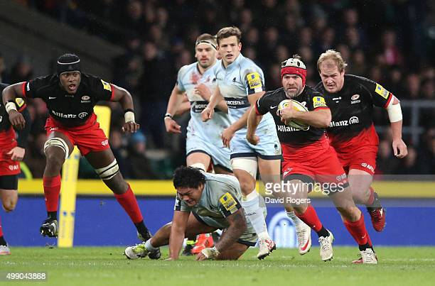 Schalk Brits or Saracens breaks with the ball during the Aviva Premiership match between Saracens and Worcester Warriors at Twickenham Stadium on...