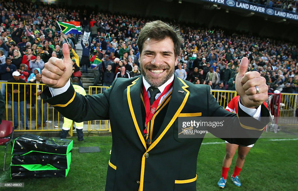 Schalk Brits who is part of the Springboks squad celebrates after his teams victory during The Rugby Championship match between the South African...