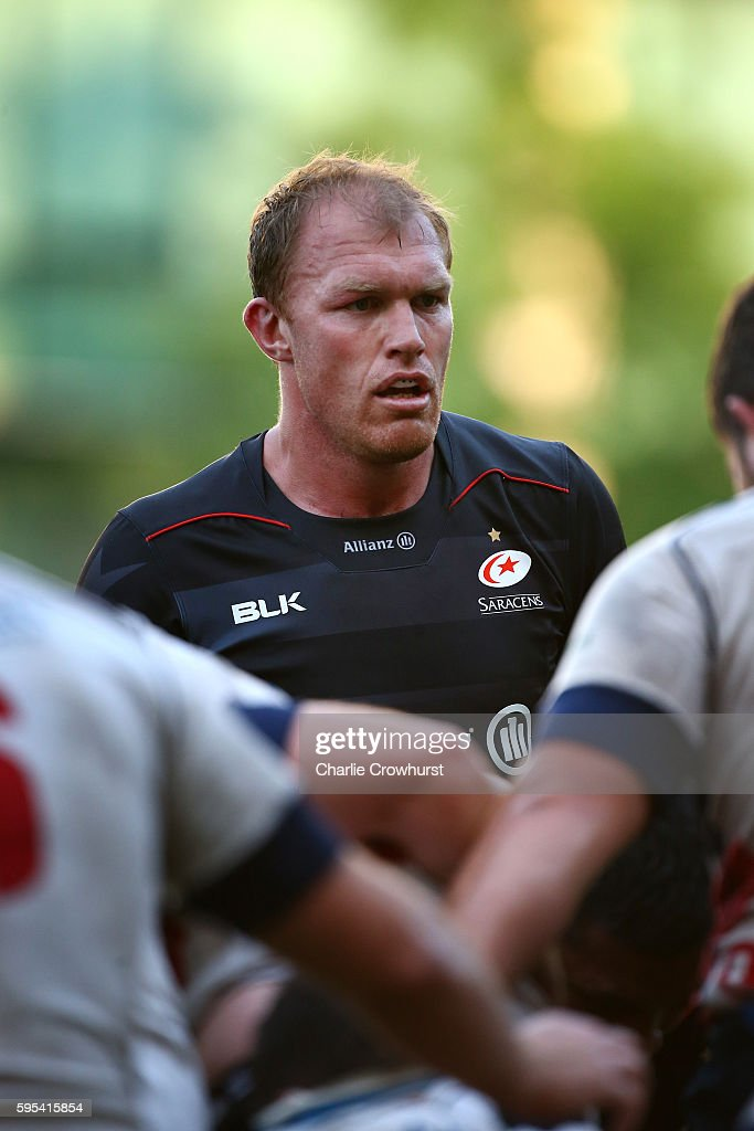 Schalk Burger of Saracens in action on his debut during the pre season friendly match between Saracens and London Scottish FC at Honourable Artillery...