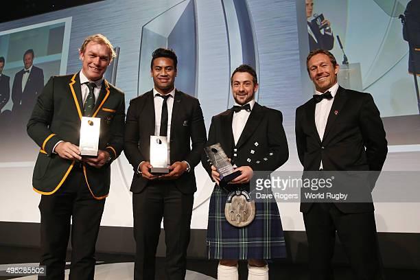 Schalk Burger of South Africa Julian Savea of New Zealand Greig Laidlaw of Scotland receive the Societe Generale Dream Team award from Jonny...