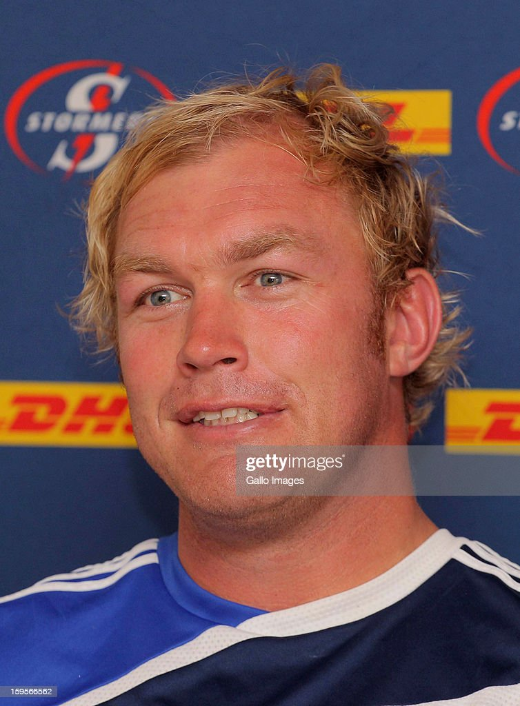Schalk Burger of Stormers speaks to members of the media during the DHL Stormers Open Media Day from Hermanus Primary School on January 16, 2013 in Hermanus, South Africa.