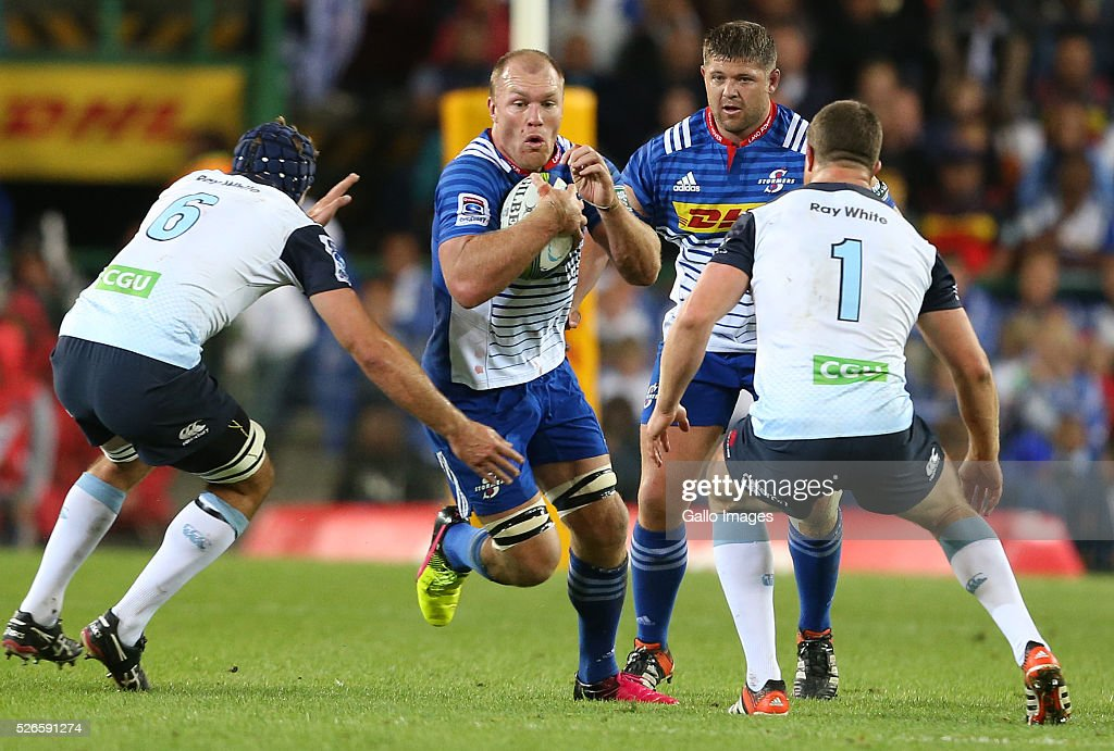 <a gi-track='captionPersonalityLinkClicked' href=/galleries/search?phrase=Schalk+Burger&family=editorial&specificpeople=207161 ng-click='$event.stopPropagation()'>Schalk Burger</a> of the Stormers during the Super Rugby match between DHL Stormers and Waratahs at DHL Newlands Stadium on April 30, 2016 in Cape Town, South Africa.