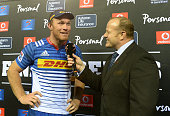 Schalk Burger of the Stormers is interviewed during the Super Rugby Quarter Final match between the DHL Stormers and Chiefs at DHL Newlands on July...