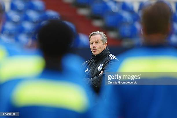 Schalke 04 head coach Jens Keller reacts during a press conference ahead of the Champions League match between FC Schalke 04 and Real Madrid at...