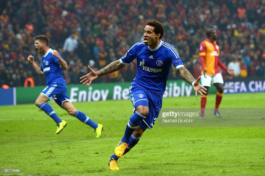FC Schalke 04 midfielder Jermaine Jones celebrates after scoring a goal during the UEFA Champions League football match Galatasaray vs FC Schalke 04 at the Ali Samiyen stadium in Istanbul on February 20, 2013.
