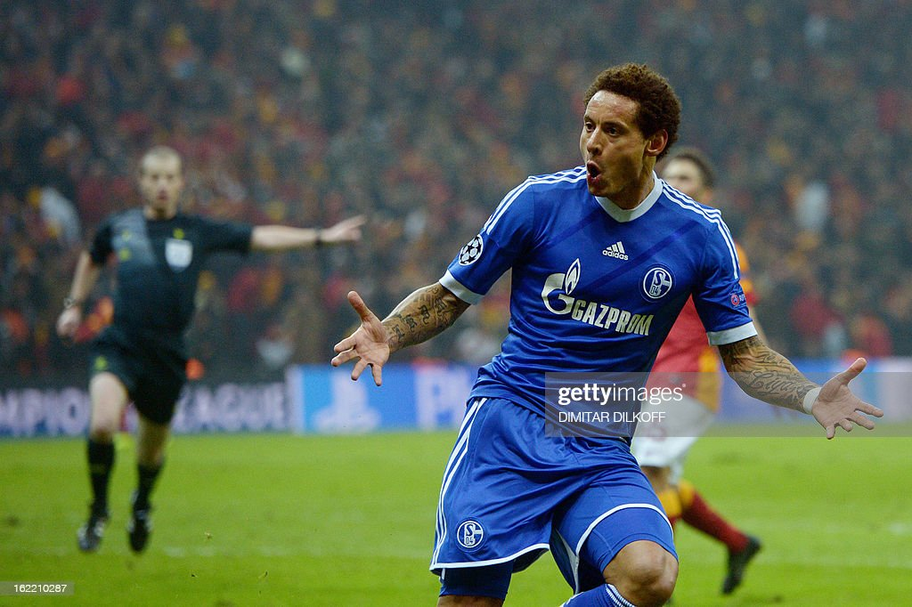 FC Schalke 04 midfielder Jermaine Jones celebrates after scoring a goal during the UEFA Champions League football match Galatasaray vs FC Schalke 04 at the Ali Samiyen stadium in Istanbul on February 20, 2013. AFP PHOTO / DIMITAR DILKOFF