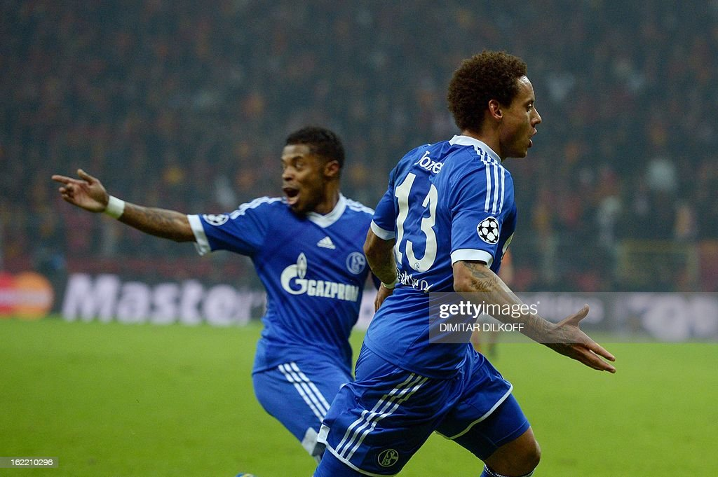 FC Schalke 04 midfielder Jermaine Jones (R) celebrates after scoring a goal during the UEFA Champions League football match Galatasaray vs FC Schalke 04 at the Ali Samiyen stadium in Istanbul on February 20, 2013.