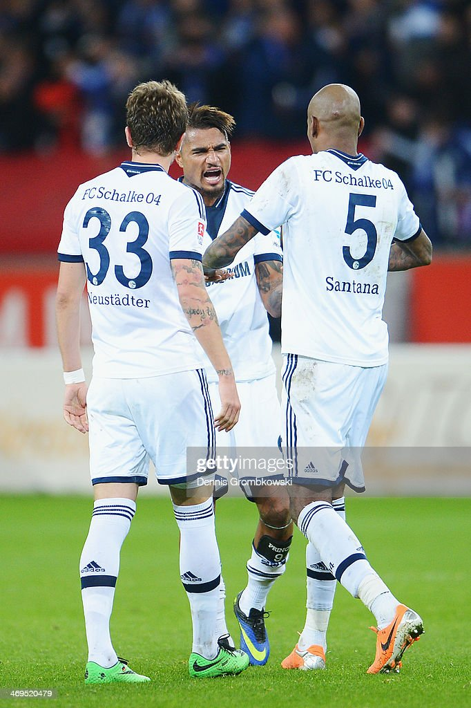 FC Schalke 04 players celebrate after the Bundesliga match between Bayer Leverkusen and FC Schalke 04 at BayArena on February 15, 2014 in Leverkusen, Germany.