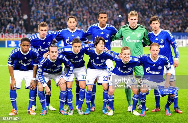 Schalke 04 team group Roman Neustadter Jermaine Jones Joel Matip Lars Unnerstall KlaasJan Huntelaar Jefferson Farfan Christian Fuchs Ibrahim Afellay...