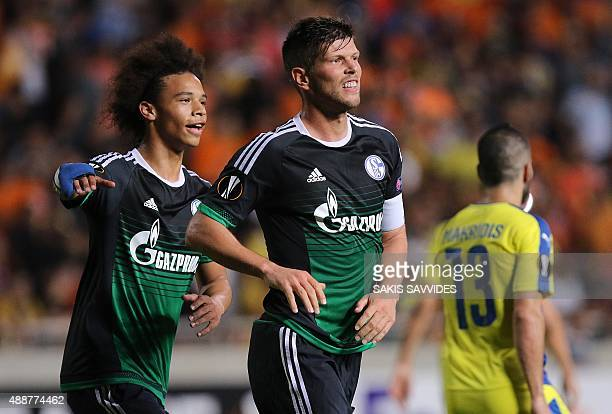 Schalke 04's KlaasJan Huntelaar celebrates after scoring a goal during the UEFA Europa League football match between APOEL and Schalke 04 at the GSP...