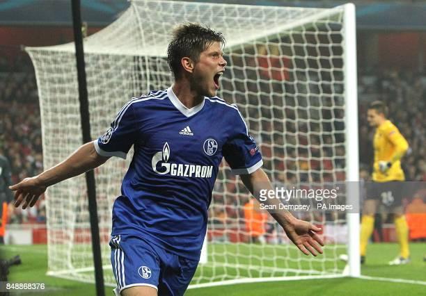 Schalke 04's KlaasJan Huntelaar celebrates scoring their first goal of the game