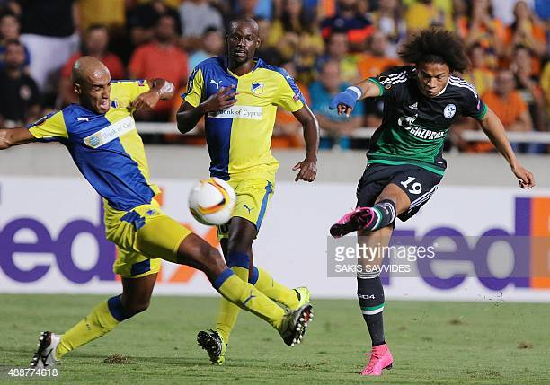Schalke 04's Leroy Sane kicks the ball during the UEFA Europa League football match between APOEL and Schalke 04 at the GSP Stadium in the Cypriot...