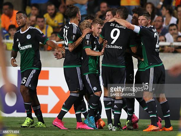 Schalke 04's players celebrate after scoring a goal during the UEFA Europa League football match between APOEL and Schalke 04 at the GSP Stadium in...