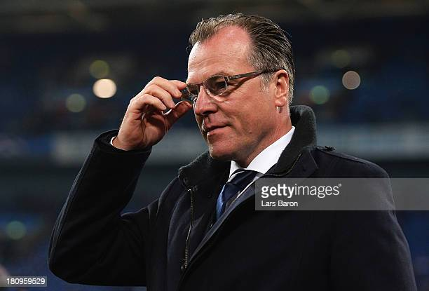 Schalke CEO Clemens Toennies looks on prior to the UEFA Champions League Group E match between FC Schalke 04 and FC Steaua Bucuresti at VeltinsArena...