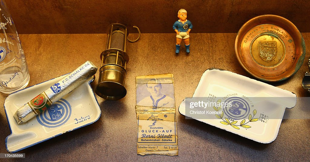 A Schalke cigar of the german Champions titel year 1958 and an ashtray are seen at Schachtschatz Museum coal-mine Hugo tray two on June 4, 2013 in Gelsenkirchen, Germany.