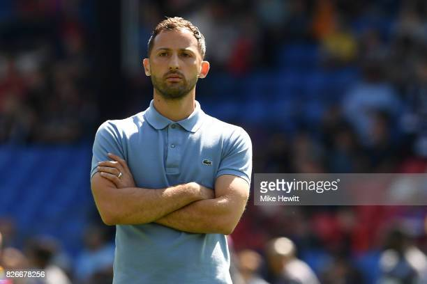Schalke coach Domenico Tedesco looks on during a Pre Season Friendly between Crystal Palace and FC Schalke 04 at Selhurst Park on August 5 2017 in...