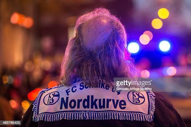 Schalke fan arrives at Estadio Santiago Bernabeu before the UEFA Champions League round of 16 second leg match between Real Madrid CF and FC Schalke...