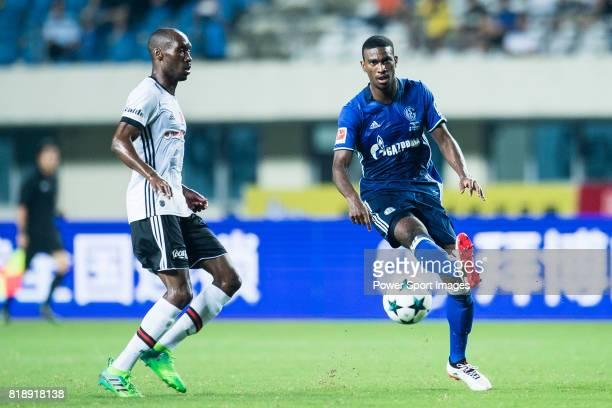 Schalke Forward Haji Wright in action against Besiktas Istambul Midfielder Atiba Hutchinson during the Friendly Football Matches Summer 2017 between...