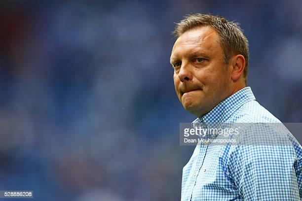 Schalke Manager / Head Coach Andre Breitenreiter looks on during the Bundesliga match between FC Schalke 04 and FC Augsburg held at VeltinsArena on...