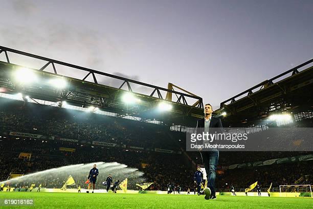 Schalke Manager / Head Coach Markus Weinzierl looks on prior to the Bundesliga match between Borussia Dortmund and FC Schalke 04 at Signal Iduna Park...