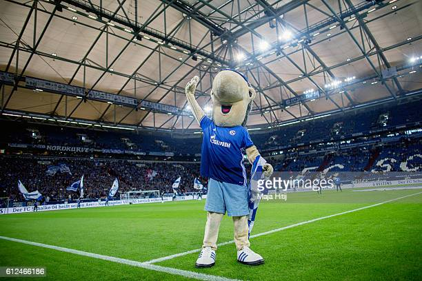 Schalke mascot Erwin waves prior the Bundesliga match between FC Schalke 04 and Borussia Moenchengladbach at VeltinsArena on October 2 2016 in...