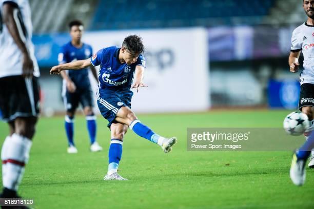 Schalke Midfielder Amine Harit attempts a kick for score his goal during the Friendly Football Matches Summer 2017 between FC Schalke 04 Vs Besiktas...